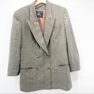 Vintage Burberry plaid double breasted wool blazer